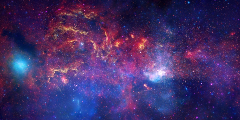 Data from NASA's Great Observatories has been combined to produce this unprecedented image of the central region of the Milky Way.  Near-infrared light from Hubble (yellow) outlines energetic regions where stars are being born.  Infrared data from Spitzer (red) show glowing clouds of dust containing complex structures.  And, X-rays from Chandra (blue and violet) reveal gas heated to millions of degrees by stellar explosion and outflows from the Galaxys supermassive black hole.